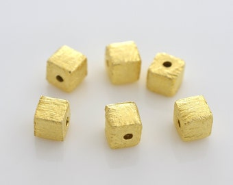 4mm - 10pcs Gold Vermeil Cube Beads, Gold plated over 925 Solid Silver handmade Spacer box beads, Bulk square beads, gold spacers