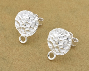 Shiny Silver plated ear stud post, earring making findings with sterling silver post 1 pair