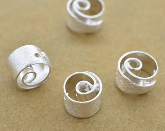 9mm - 4pcs Sterling Silver Spiral design spacer beads, 925 Solid Silver handmade Spacer beads, Bulk beads