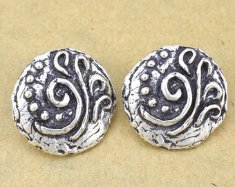 jewelry button clasps silver for leather cord wrap jewelry making floral motif design, Artisan handmade button for wrap bracelet 2pcs - 16mm