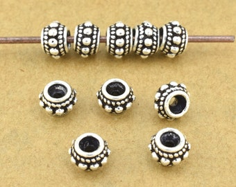 6mm - 4pcs Sterling Silver Bali Silver Beads, Antique Silver Spacer Beads for jewelry making made of 925 Solid Silver
