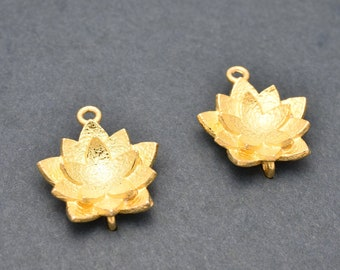 19mm Gold Lotus Flower shape Earring connector, Gold Plated Earring Component, earring parts, dangle earring making 1 set
