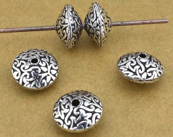 Silver Saucer Beads, spacer beads, antique silver plated, floral design beads for jewelry making Bicone beads 5pcs -  12mm