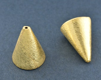 20mm Gold Cone tassel caps, Gold plated End Cap cone, Gold bead caps, tall bead caps, large bead caps, kumihimo end caps cones 2pcs