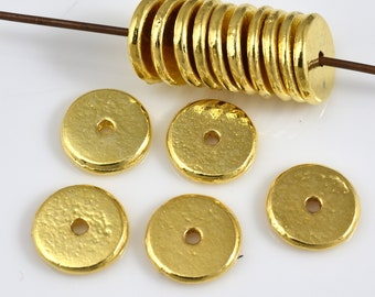 15 High Polished Gold plated flat spacer beads for jewelry making, Heishi spacer beads 10mm