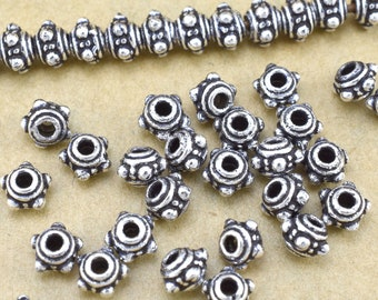 5mm -50pc Bali silver beads spacers for jewelry making Antique silver plated little metal Beads for bracelet & necklaces, small pewter beads