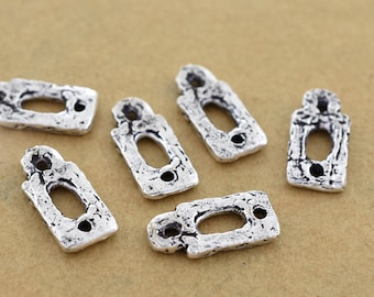 15mm - 6pc silver connector links, earring making dangle, artisan findings 15x7mm