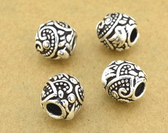 Silver Beads 9mm Spacer beads Floral design Silver plated Beads, European design, bird and floral motif Large Hole beads 3mm hole / 4pcs