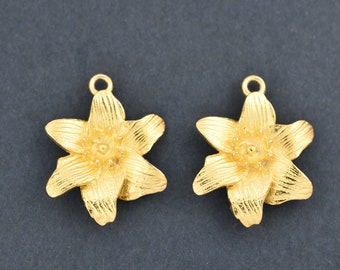 22mm Gold Plated Flower Earring Connectors Component, earring parts, dangle earring making 1 set