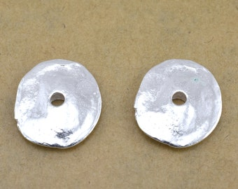 16mm Silver plated disc spacers, Large rustic finish jewelry making spacers, artisan handmade round silver disc findings, 16x14mm / 2pcs