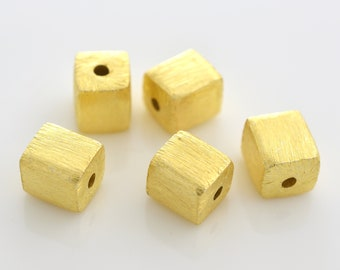 6mm -5pcs Gold Vermeil Cube Beads, Gold plated over 925 Solid Silver handmade Spacer box beads, Bulk square beads, gold spacers