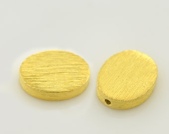 13mm - 2pcs Gold Vermeil oval shape brushed finish beads, Spacer Beads, made of solid 925 Sterling Silver beads with real gold plating