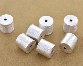 8mm -8pc Silver cylinder beads, brushed silver beads, drum beads, barrel beads