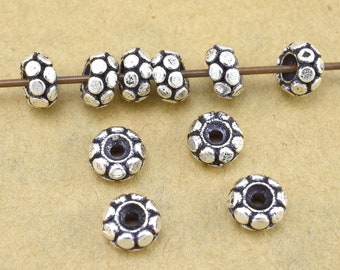 7mm - 10pc silver spacer Beads, Bali Rondelle Beads for Jewelry Making supplies antique silver plated Metal Spacers