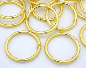 13 Gold Jump Rings Closed, Large Gold Jumprings for jewelry making O rings connectors and links - 15 Gauge AWG - 13pcs - 18mm