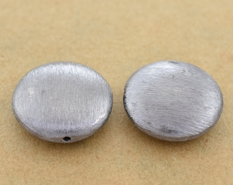 20mm - 2pc - Brushed Black Saucer Shape Spacer Beads, Side hole gunmetal plated beads for jewelry making, Black spacer beads