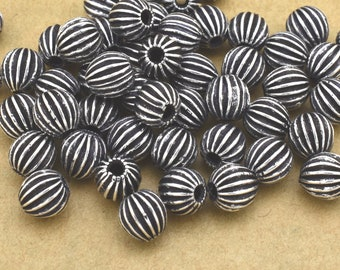 6mm Silver Plated antique corrugated beads, large Silver beads, antique Silver beads 50pcs