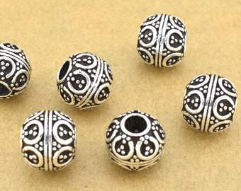 9mm - 2pc Bali Silver Spacer Beads for jewelry making, 925 Sterling Silver filigree beads, Large 3mm hole, antique silver finish