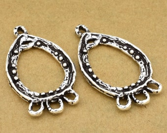 silver earring hoops artisan handmade rustic chandelier earring findings, DROP shape organic design, silver plated components 1 pair 21x38mm