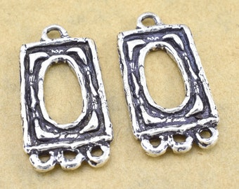 Chandelier Earring Components Silver plated Hoops artisan findings bohemian earrings making parts rectangular Dangle 28x16mm