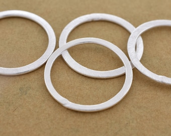 25mm - 4pc Connector Rings silver washers Artisan organic links, brushed silver plated washer Link charms, handmade jewelry making Circles