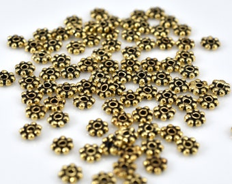 Bali Gold Daisy Spacer Beads, antique gold heishi spacers 4mm - 88 pcs