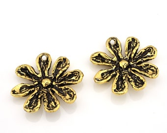 2 Earring making Gold Flower Charms, Artisan Findings, antique Gold Plated Jewelry Making Dangle Charms 20mm