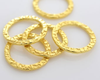16mm - 5pcsGold Vermeil Circles Washer Connector Links, Hammer finish findings, handmade jewelry supplies for jewelry making
