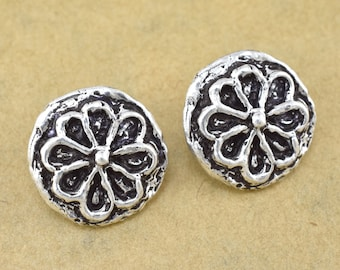 2 Silver plated Button Closures for leather wrap jewelry Artisan findings metal flower button clasps, handmade, antique finish, shank back