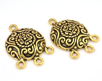 2pc - Chandelier Earring findings antique Gold plated for jewelry making, 30mm