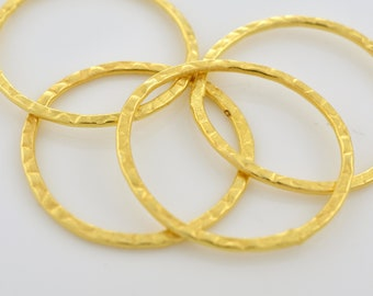 30mm - 4pc Hammered Gold plated Connector Rings Gold washers Artisan organic links, Link charms, handmade jewelry Earring making Circles