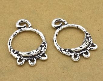 Silver Chandelier Earring Findings jewelry making Components Moon design bohemian Earring Findings antique silver plated, 2pcs boho hoops