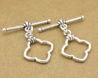 2 silver toggle clasps for Bracelets, clasps for jewelry making supplies, antique silver plated closures, Bali clasps for necklace findings