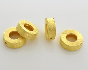 10mm - 4pcs Gold Vermeil Spacer Beads, brushed finish beads, Frame Beads, made of solid 925 Sterling Silver beads with real gold plating