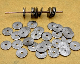 6mm - 69pcs Flat Black Disk Spacers, gunmetal plated Disc beads for jewelry making