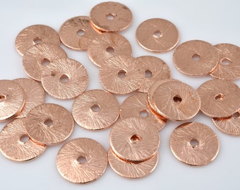 6mm -64pcs Flat copper disc spacer beads, brushed finish, copper plated disk beads for jewelry making