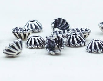 Antique Silver Bead caps 6mm for jewelry making, Bali silver bead caps, small silver bead caps, pewter bead caps 20pcs