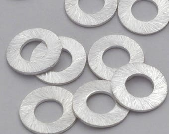 14mm Round silver plated brushed finish washer link beads, 14 pieces