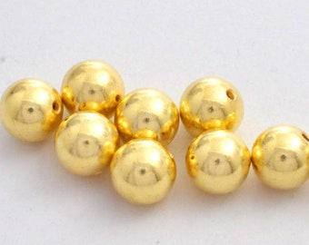 6mm - 11pc Gold Vermeil Shiny Round Ball Beads  - Gold plated beads for jewelry making