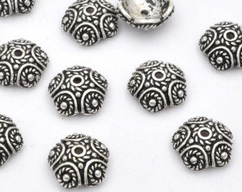 10pc Silver Plated Bead Caps -11mm Bali style antique silver plated bead caps Twisted circle metal caps
