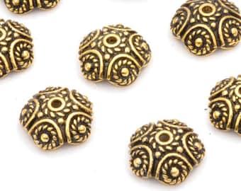 Gold Bead Caps 10pc Antique Bali Bead Caps, Large Gold Plated Bali Style Bead Caps, antique finish 11mm - 10pcs
