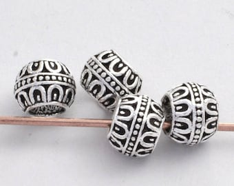 9mm -2pc Sterling Silver Beads, Large Hole Spacer Beads for Jewelry Making, Antique Bali Silver Beads, 5mm hole