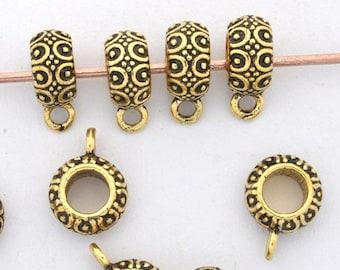 10pc Large Hole Gold Bails Necklace Bails pendant Bails artisan charm holder flower bails, dangle Bails leather cord 4mm Hole