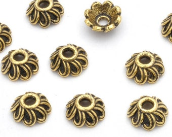 Antique Gold Bead Caps 9mm Bali style Gold Plated Bead caps for jewelry making beadcaps 2mm hole - 10pcs