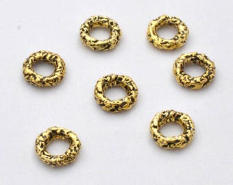 7 Gold Connector Links, Donuts & ring style link charms, antique gold plated Closed Jump Ring Artisan findings Handmade Rustic 4.5mm ID 10mm