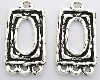 Chandelier Earring Components Silver plated Hoops artisan findings bohemian earrings making parts rectangular Dangle 28x16mm