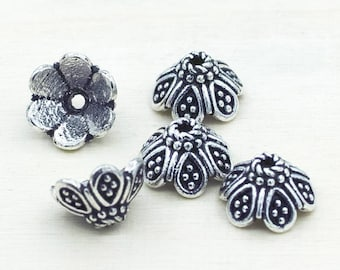 Bali Silver Bead Caps 10mm Flower bead caps for Jewelry Making,  Antique Silver plated jewelry bead caps, 5pcs