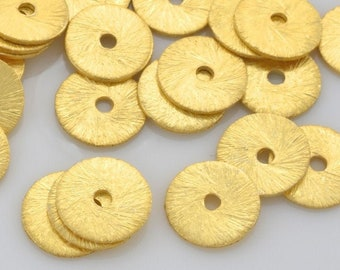 8mm - 16pcs Gold Vermeil Flat Disk Spacer Beads, brushed gold washers, Disc spacers for jewelry making, Bulk gold plated Heishi spacers