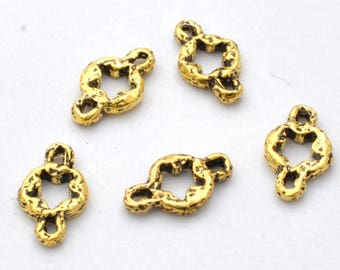 16x9mm - 5pc Gold connector links, Antique finish gold plated Star jewelry links, organic artisan findings, rustic links for bracelet making