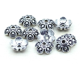 10 Silver plated bead caps for jewelry making, Bali Style caps 10mm / 10pcs